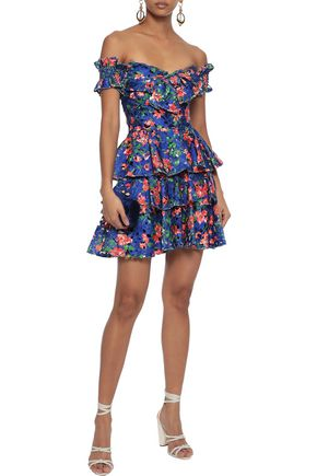 CAROLINE CONSTAS Helena off-the-shoulder tiered floral-print guipure lace mini dress