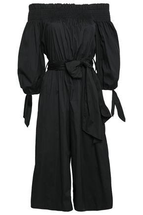 CAROLINE CONSTAS Off-the-shoulder cropped cotton-blend poplin jumpsuit