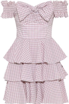 CAROLINE CONSTAS Helena off-the-shoulder bow-embellished gingham cotton-poplin mini dress