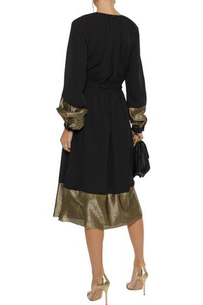 DEREK LAM Ribbed lamé-paneled pleated silk-blend crepe midi dress