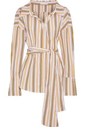 CAROLINE CONSTAS Constantine belted striped cotton-blend poplin shirt