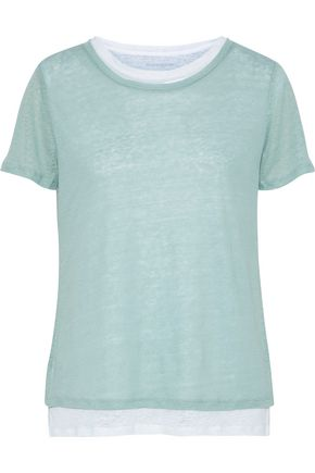 MAJESTIC FILATURES Layered linen-jersey T-shirt