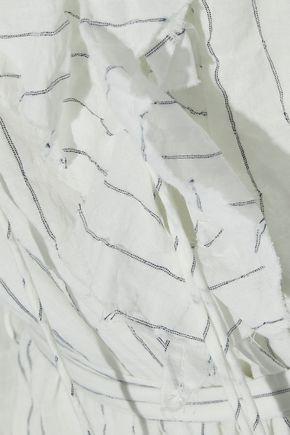 ZIMMERMANN Corsair ruffled pinstriped crinkled cotton-blend midi dress