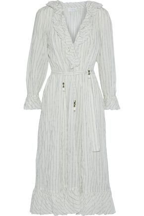 ZIMMERMANN Corsair ruffled pinstriped crinkled cotton-blend midi dress