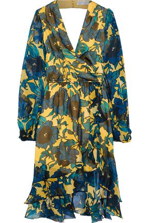 CAROLINE CONSTAS Olivia wrap-effect floral-print silk-chiffon dress