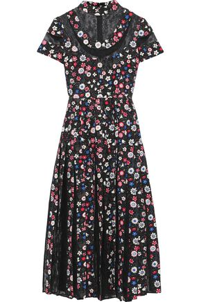 VALENTINO Pleated corded lace-paneled floral-print silk-crepe midi dress