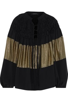 DEREK LAM Ribbed lamé-paneled shirred silk-blend crepe blouse