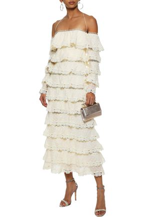 ZIMMERMANN Painted Heart Love off-the-shoulder Swiss-dot cotton and silk-blend midi dress