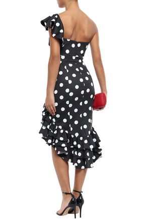 CAROLINE CONSTAS Off-the-shoulder ruffled polka-dot cotton-blend dress