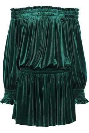 NORMA KAMALI Peasant off-the-shoulder velvet mini dress