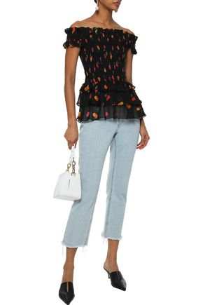 CAROLINE CONSTAS Hydra off-the-shoulder floral-print silk-chiffon top