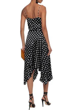 CAROLINE CONSTAS Polka-dot silk-blend satin and stretch-jersey bodysuit