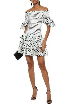 CAROLINE CONSTAS Kennie off-the-shoulder tiered polka-dot silk-blend satin mini dress
