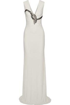 ROBERTO CAVALLI Embellished ruched stretch-cady gown