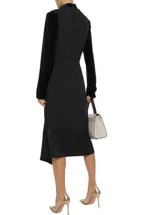 DEREK LAM Satin-paneled crepe midi dress