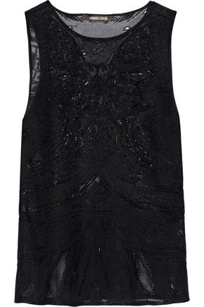 ROBERTO CAVALLI Embroidered lace-paneled pointelle-knit top