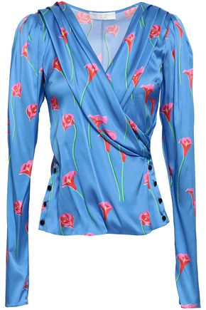 CAROLINE CONSTAS Wrap-effect floral-print stretch-silk satin blouse