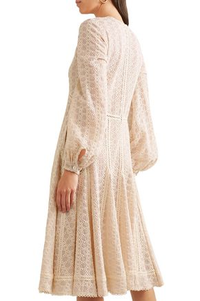 JONATHAN SIMKHAI Broderie anglaise cotton-blend gauze midi dress
