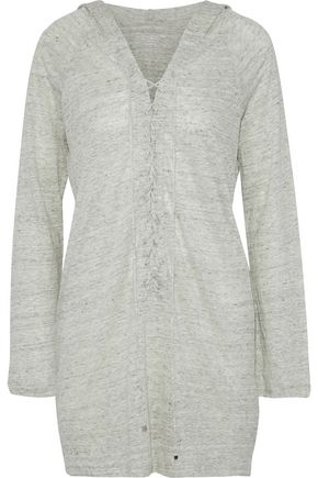 MAJESTIC FILATURES Lace-up mélange linen hooded tunic