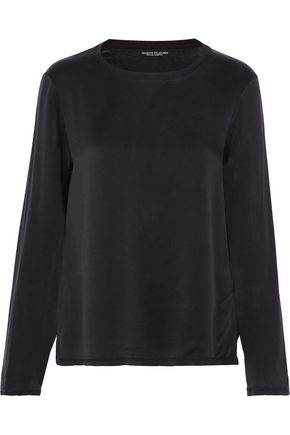 MAJESTIC FILATURES Cotton, cashmere and silk-blend washed-crepe and jersey top