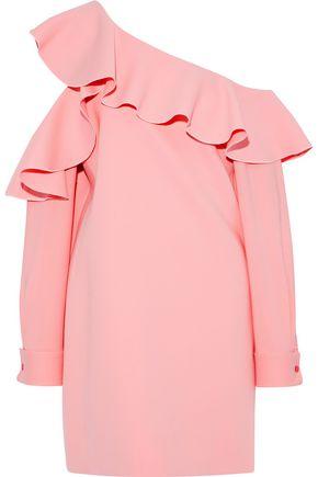 OSCAR DE LA RENTA One-shoulder ruffled cotton mini dress