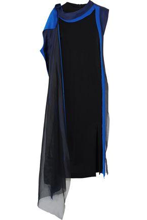 MAISON MARGIELA Draped jersey, silk-satin and chiffon midi dress