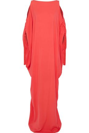 OSCAR DE LA RENTA Cold-shoulder tassel-embellished silk-crepe gown