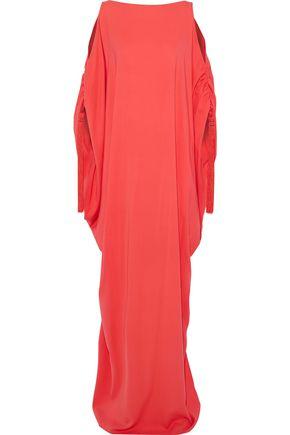 OSCAR DE LA RENTA オープンショルダー タッセル付き シルククレープ ロングドレス