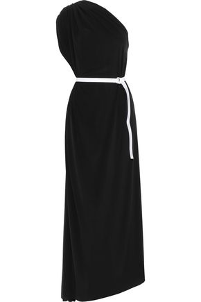 NORMA KAMALI One-shoulder belted stretch-jersey gown