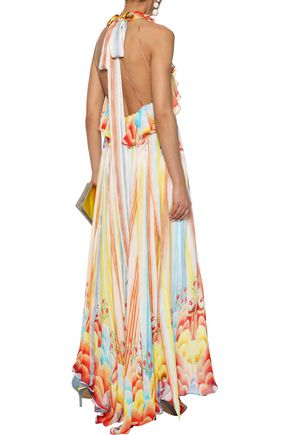 TEMPERLEY LONDON Nymph ruffled printed silk-chiffon halterneck maxi dress