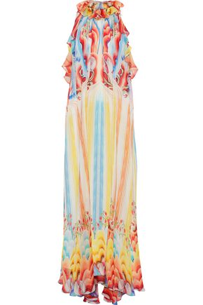 TEMPERLEY LONDON Nymph ruffled printed silk-chiffon halterneck maxi dress
