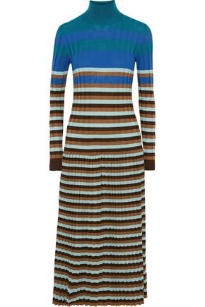 MARNI Striped ribbed wool turtleneck midi dress
