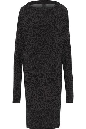 NORMA KAMALI Paneled printed stretch-crepe dress