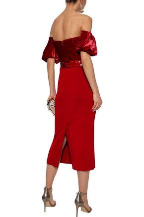 SACHIN & BABI Stassi off-the-shoulder sequin-embellished velvet-paneled ribbed-knit midi dress