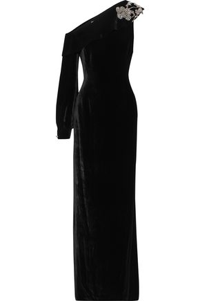 SACHIN & BABI Austine one-shoulder embellished velvet gown