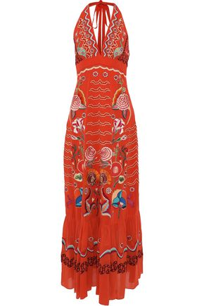 TEMPERLEY LONDON Chimera embroidered silk-chiffon halterneck maxi dress