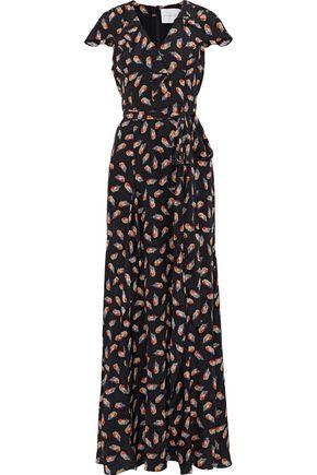 CAROLINA HERRERA Ruffle-trimmed printed silk crepe de chine maxi dress
