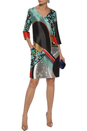 Mary Katrantzou Woman Printed Satin-Twill Dress Multicolor