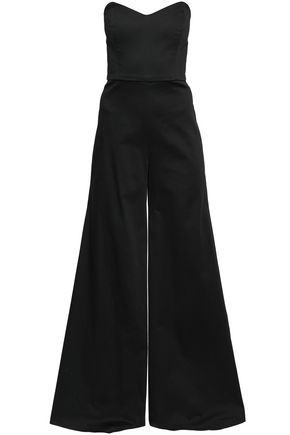 CAROLINE CONSTAS Strapless stretch-cotton jumpsuit
