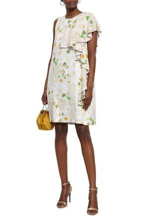 ISOLDA Ruffled floral-print satin dress