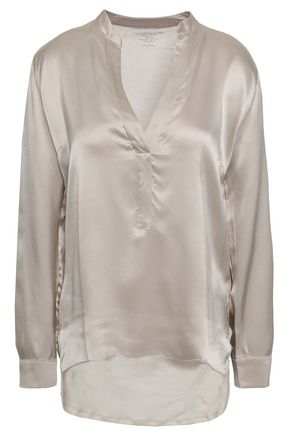 MAJESTIC FILATURES Slub linen and silk-blend satin-paneled blouse