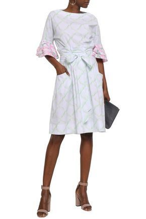 ISOLDA Fluted printed stretch-cotton dress