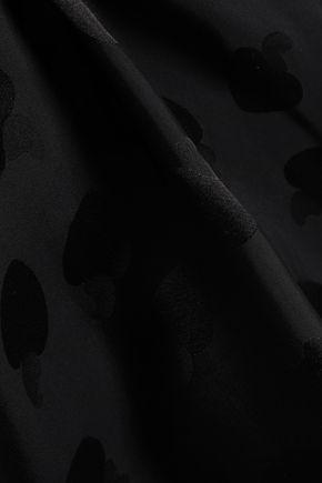 ISOLDA Bow-detailed satin-jacquard top