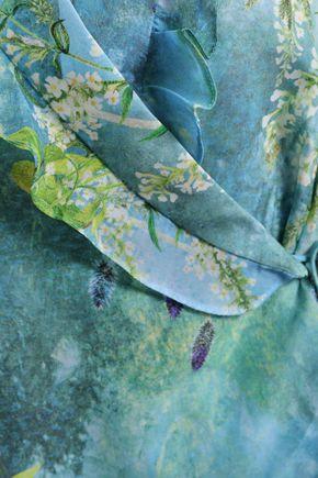 ISOLDA Ruffled printed crepe de chine wrap blouse