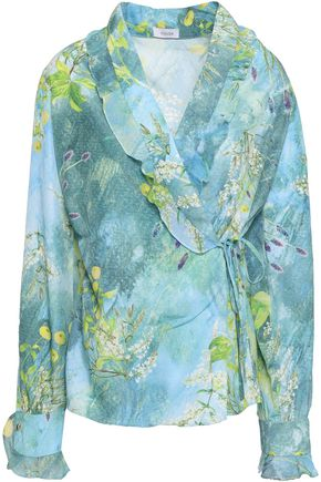 ISOLDA Ruffled printed crepe de chine wrap blouse