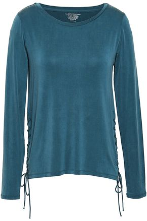 MAJESTIC FILATURES Lace-up stretch-jersey top