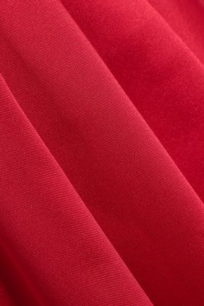 BADGLEY MISCHKA Belted draped duchesse-satin gown