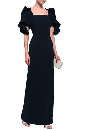 BADGLEY MISCHKA Ruffled stretch-crepe gown