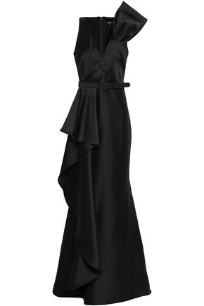 BADGLEY MISCHKA Belted draped duchesse-satin gown
