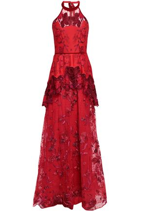MARCHESA NOTTE Embroidered neoprene and flocked tulle halterneck gown